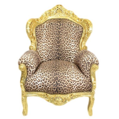 ARMCHAIR - BAROQUE STYLE ARMCHAIR GOLD & PANTHER # F30MB140